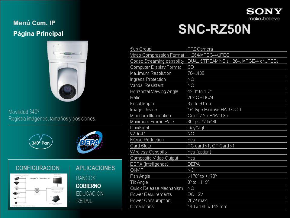 SNC-RZ50N Menú Cam. IP Página Principal CONFIGURACION APLICACIONES