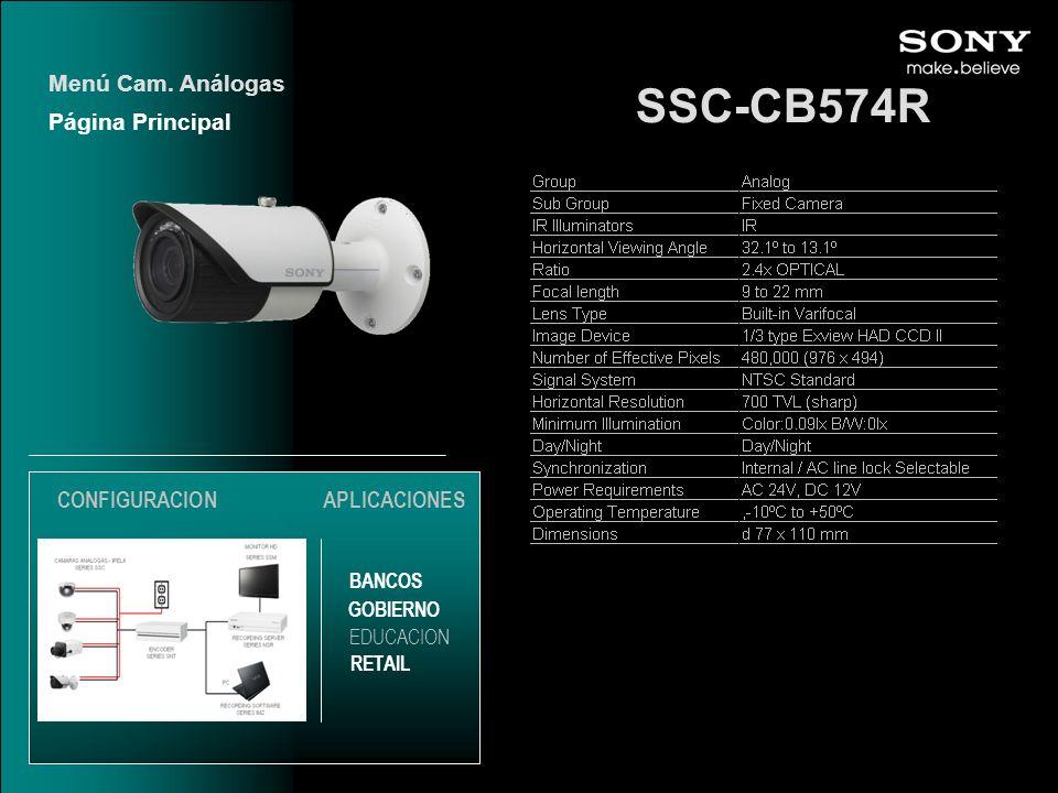 SSC-CB574R Menú Cam. Análogas Página Principal CONFIGURACION