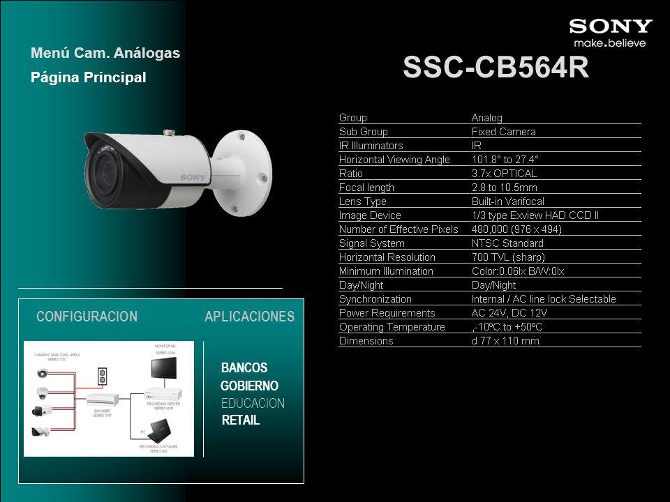 SSC-CB564R Menú Cam. Análogas Página Principal CONFIGURACION