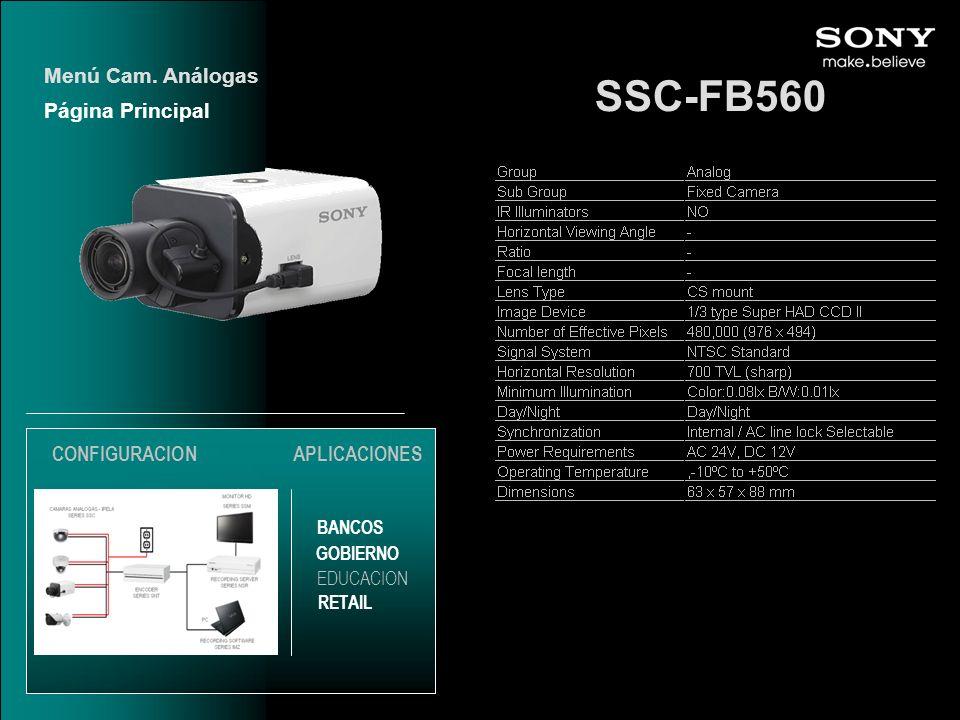 SSC-FB560 Menú Cam. Análogas Página Principal CONFIGURACION