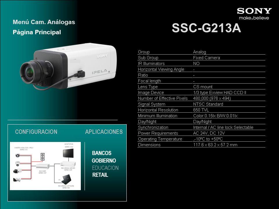 SSC-G213A Menú Cam. Análogas Página Principal CONFIGURACION