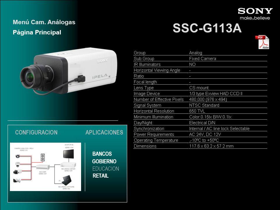 SSC-G113A Menú Cam. Análogas Página Principal CONFIGURACION