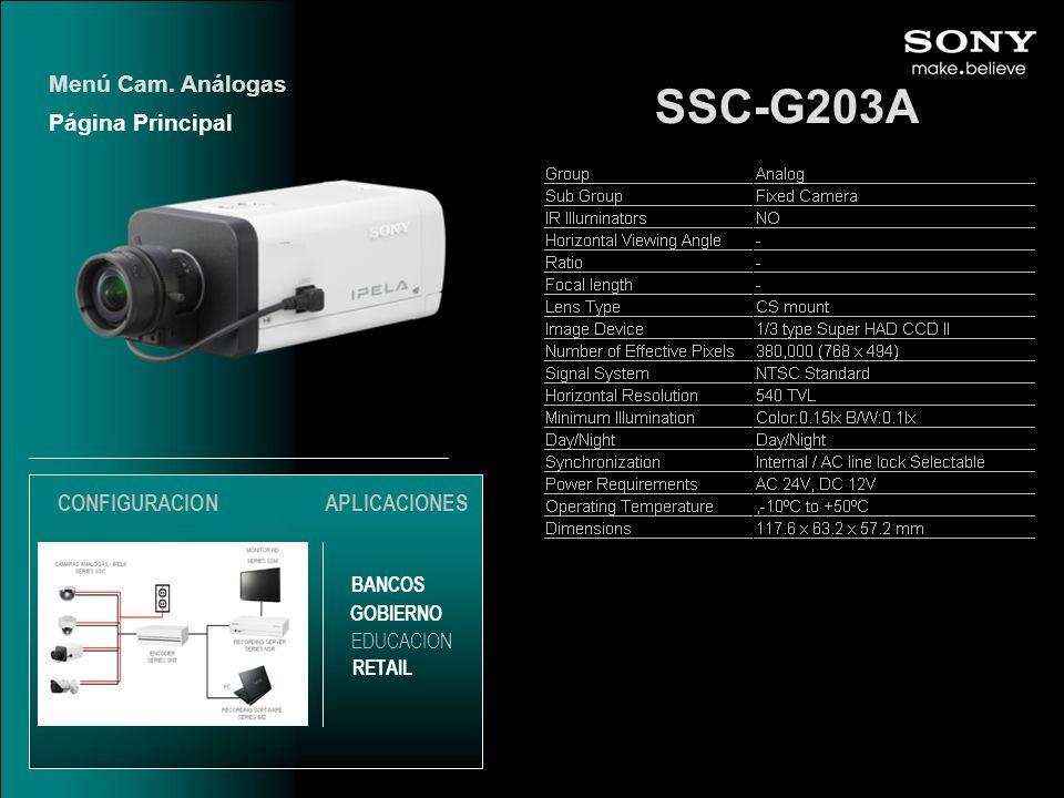 SSC-G203A Menú Cam. Análogas Página Principal CONFIGURACION