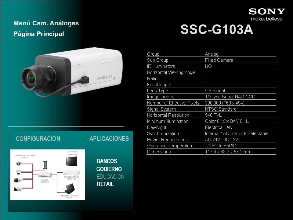 SSC-G103A Menú Cam. Análogas Página Principal CONFIGURACION