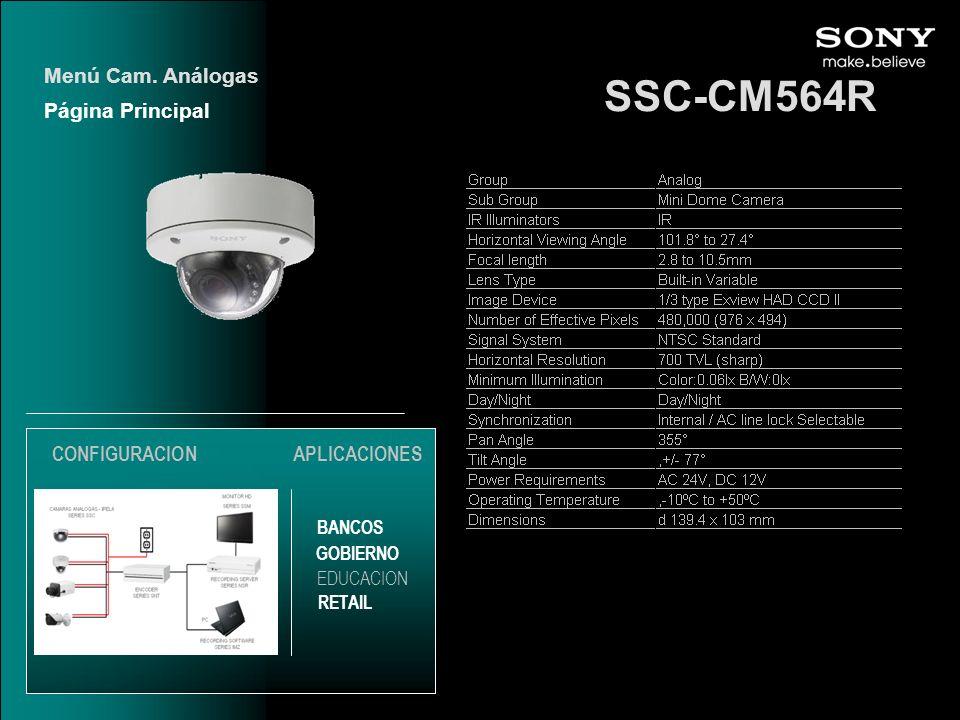 SSC-CM564R Menú Cam. Análogas Página Principal CONFIGURACION