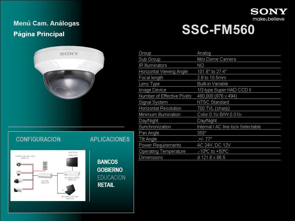 SSC-FM560 Menú Cam. Análogas Página Principal CONFIGURACION