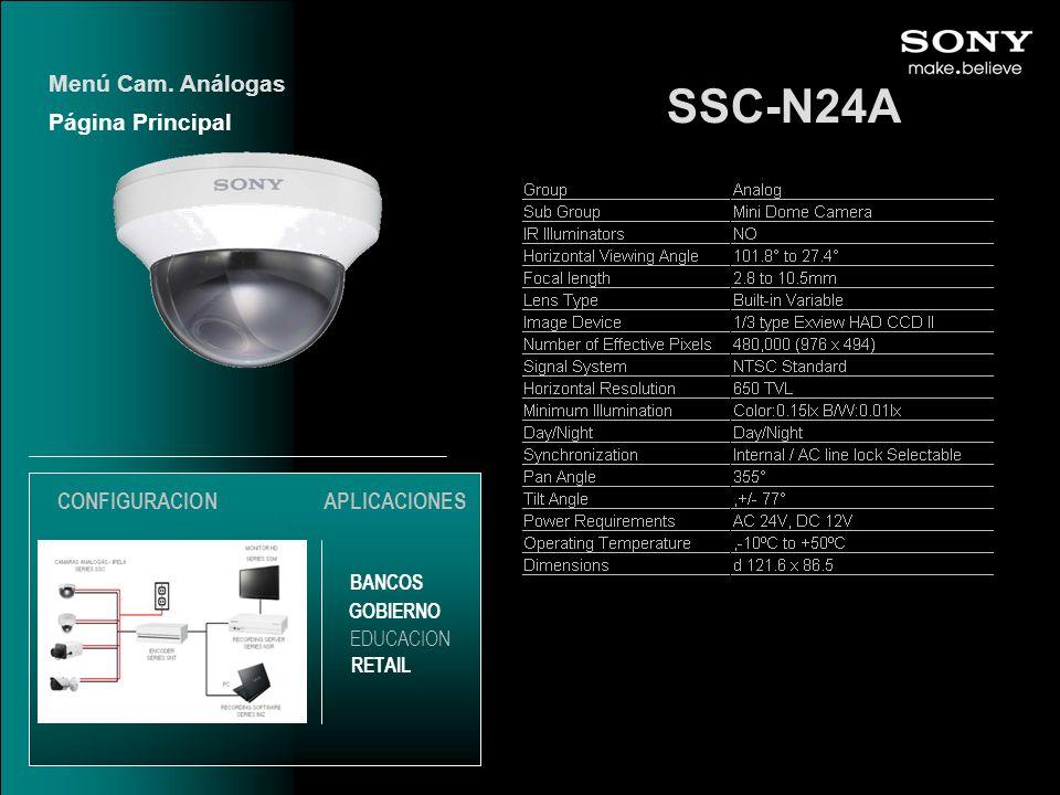 SSC-N24A Menú Cam. Análogas Página Principal CONFIGURACION