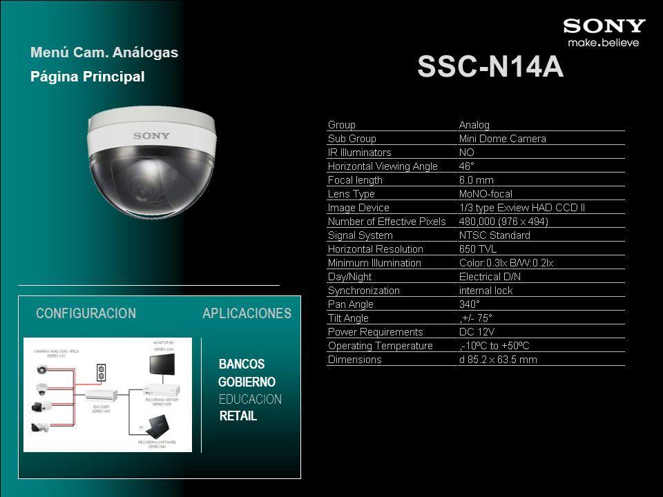 SSC-N14A Menú Cam. Análogas Página Principal CONFIGURACION
