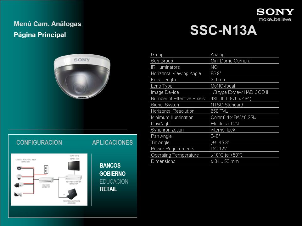 SSC-N13A Menú Cam. Análogas Página Principal CONFIGURACION
