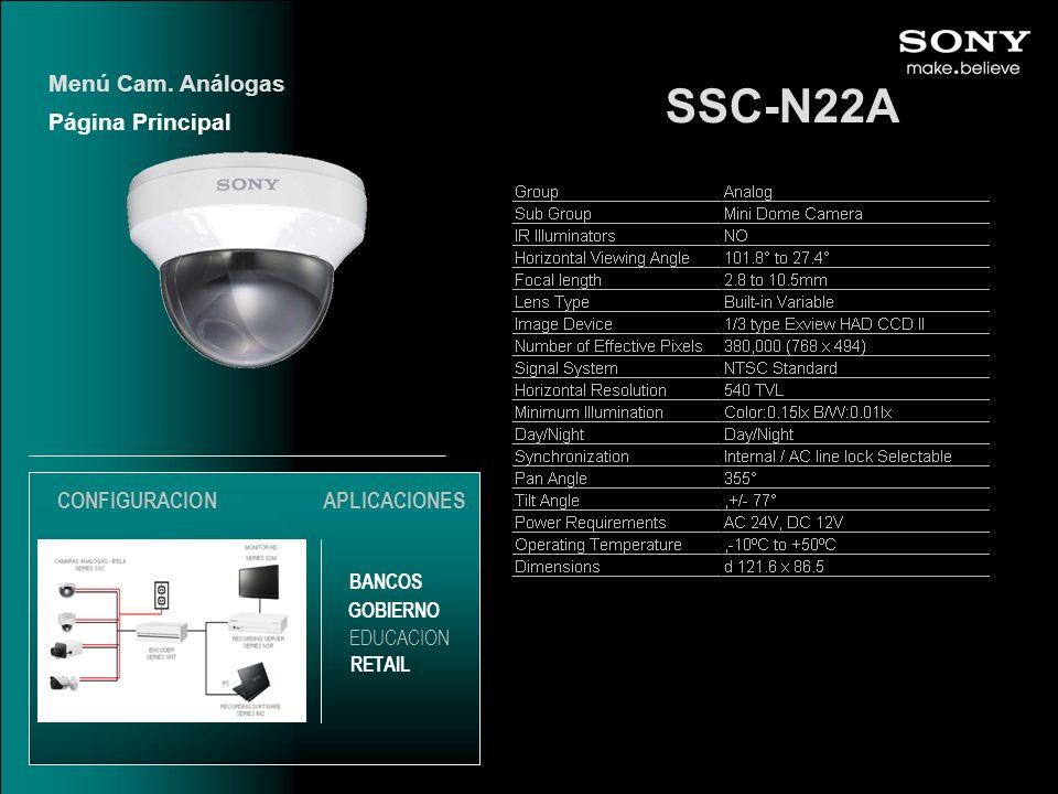 SSC-N22A Menú Cam. Análogas Página Principal CONFIGURACION