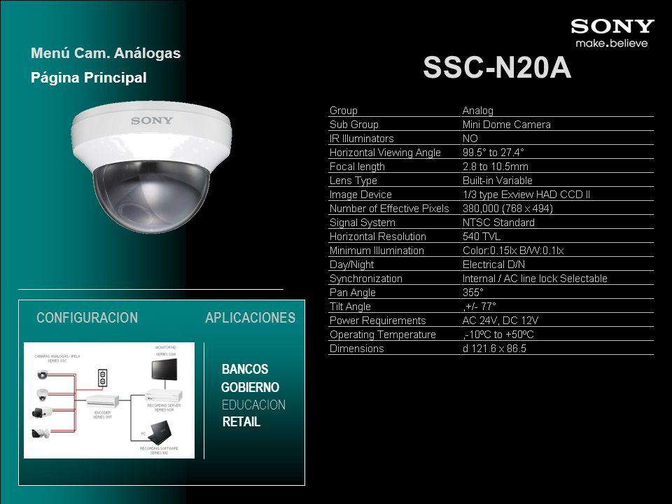 SSC-N20A Menú Cam. Análogas Página Principal CONFIGURACION