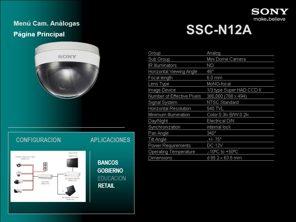 SSC-N12A Menú Cam. Análogas Página Principal CONFIGURACION