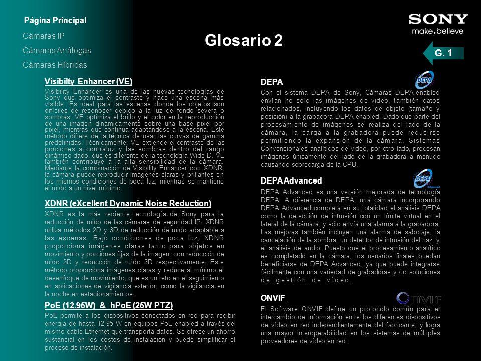 Glosario 2 G. 1 Página Principal Cámaras IP Cámaras Análogas