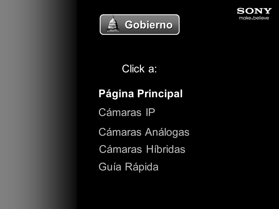 Gobierno Click a: Página Principal Cámaras IP Cámaras Análogas