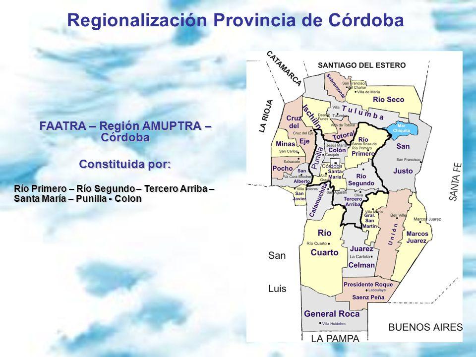 Regionalización Provincia de Córdoba FAATRA – Región AMUPTRA – Córdoba