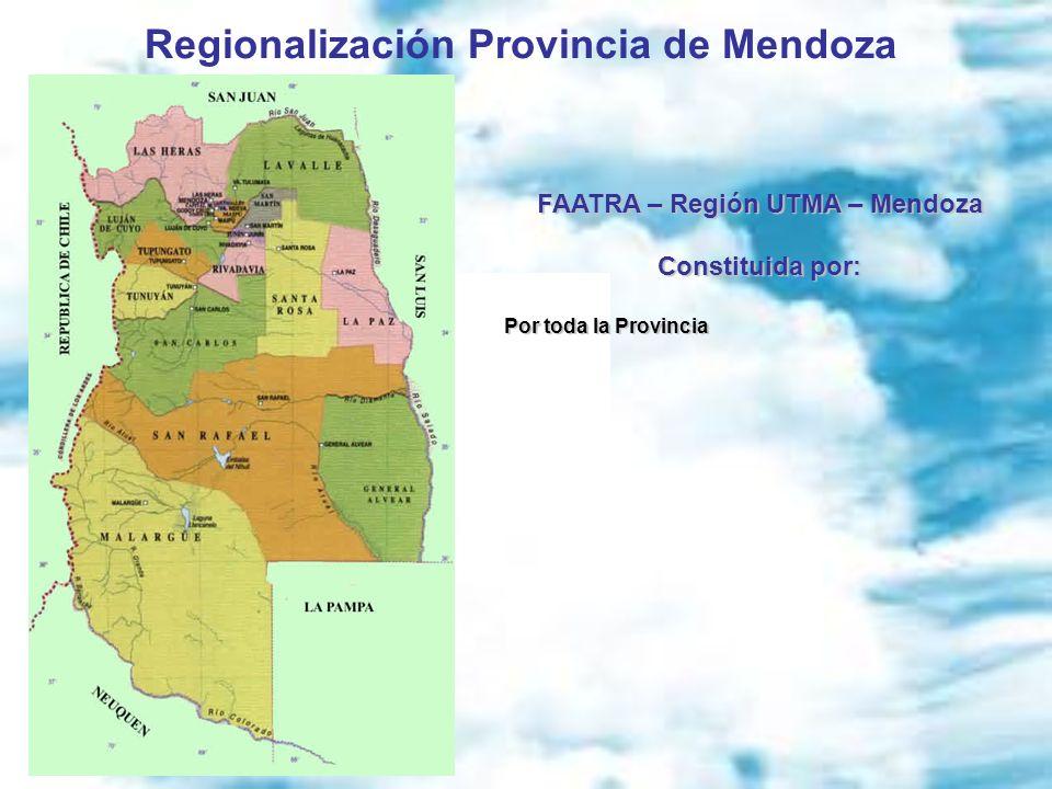 Regionalización Provincia de Mendoza FAATRA – Región UTMA – Mendoza