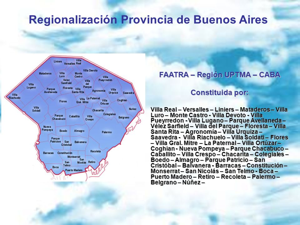 Regionalización Provincia de Buenos Aires FAATRA – Región UPTMA – CABA