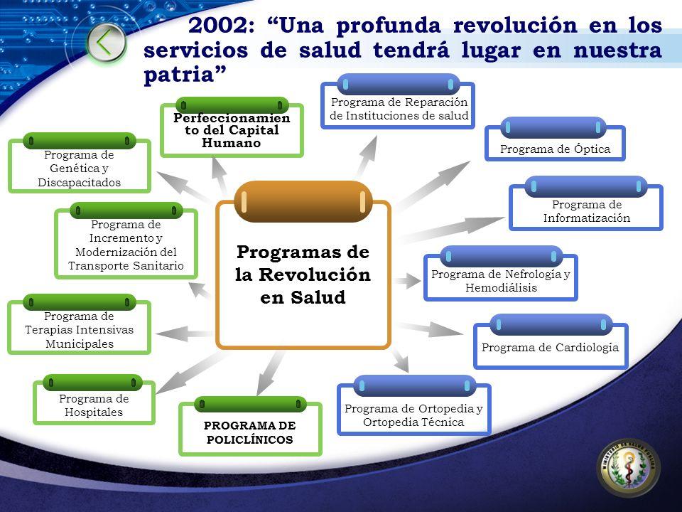 2002: Una profunda revolución en los servicios de salud tendrá lugar en nuestra patria