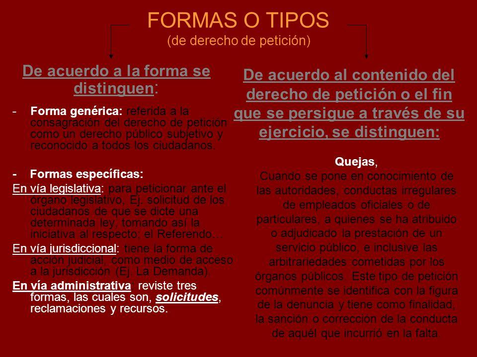 FORMAS O TIPOS (de derecho de petición)