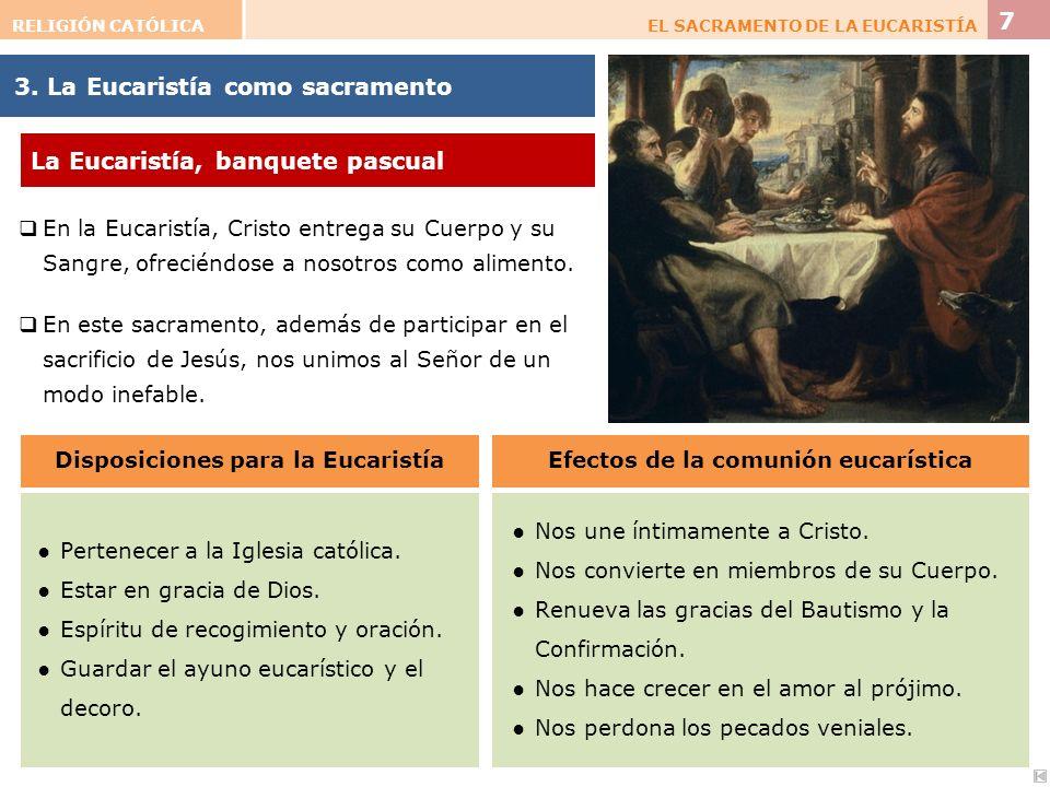 Disposiciones para la Eucaristía Efectos de la comunión eucarística