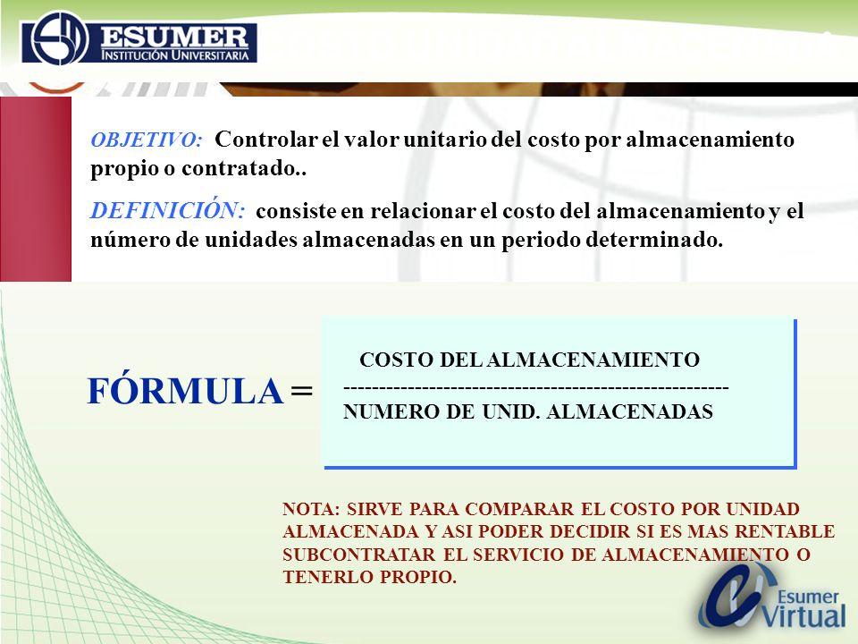 COSTO UNIDAD ALMACENADA