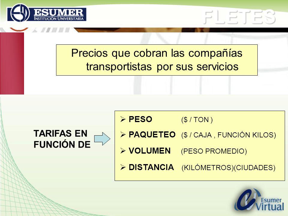 Precios que cobran las compañías transportistas por sus servicios