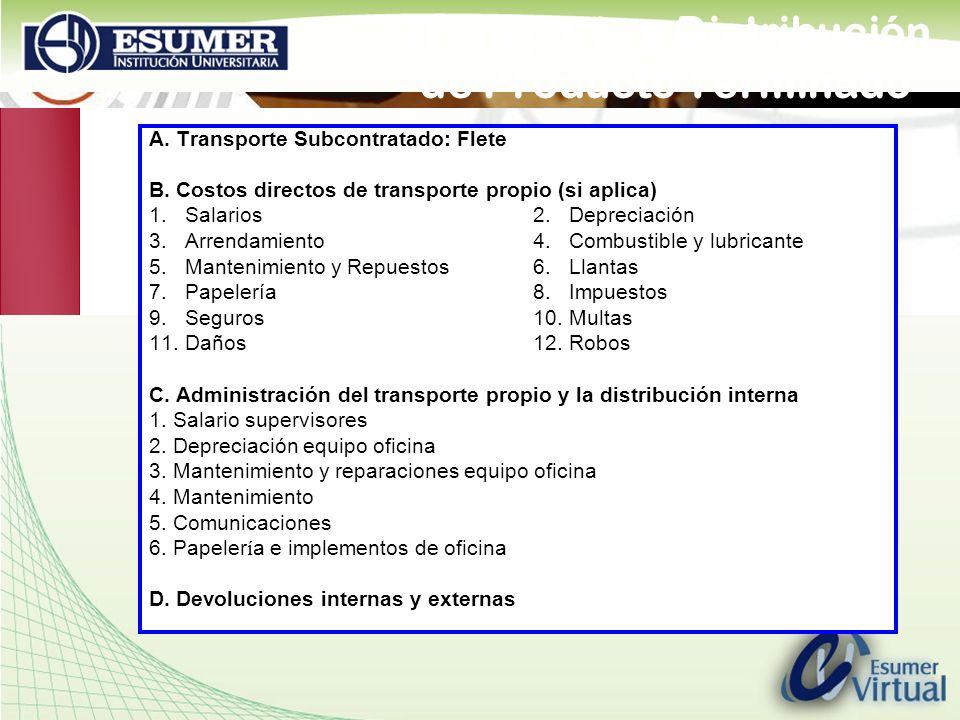 Transporte y Distribución de Producto Terminado