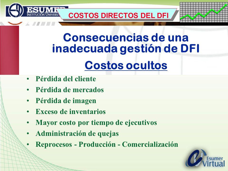 Consecuencias de una inadecuada gestión de DFI Costos ocultos