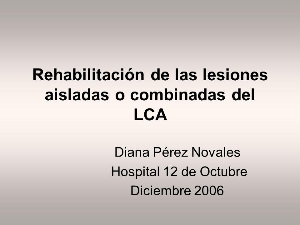 Rehabilitación de las lesiones aisladas o combinadas del LCA