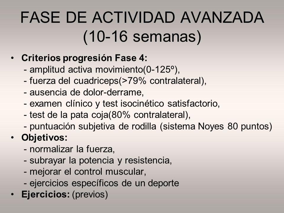FASE DE ACTIVIDAD AVANZADA (10-16 semanas)