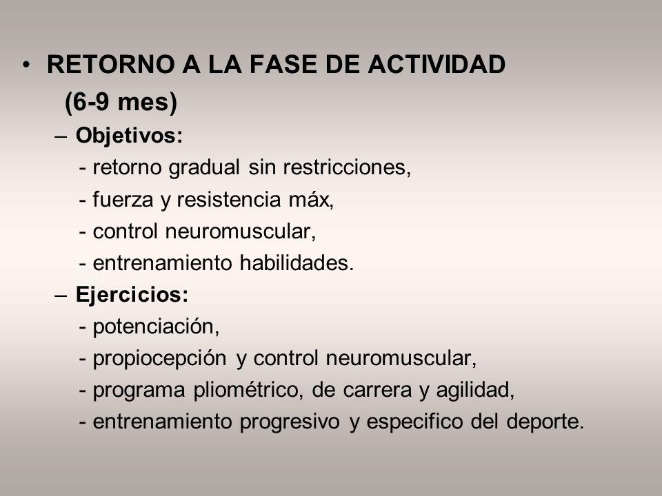 RETORNO A LA FASE DE ACTIVIDAD (6-9 mes)