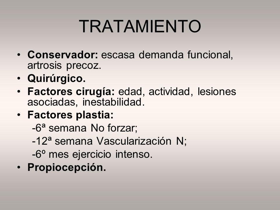 TRATAMIENTO Conservador: escasa demanda funcional, artrosis precoz.