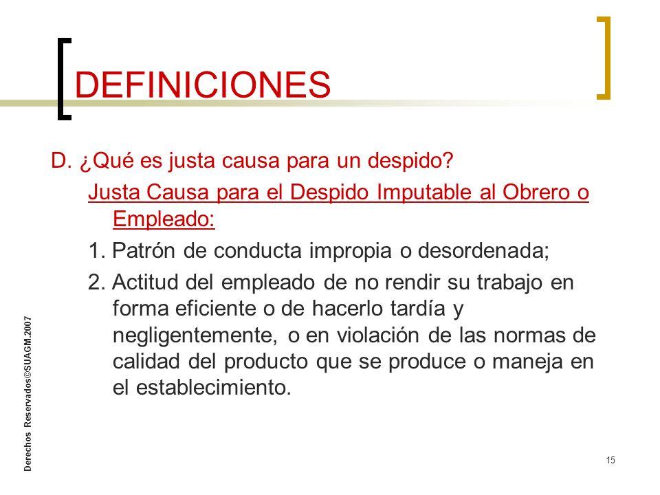 DEFINICIONES D. ¿Qué es justa causa para un despido