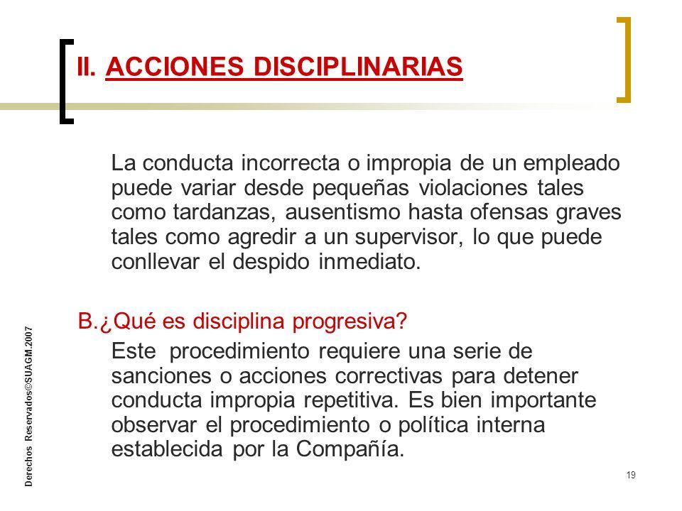II. ACCIONES DISCIPLINARIAS
