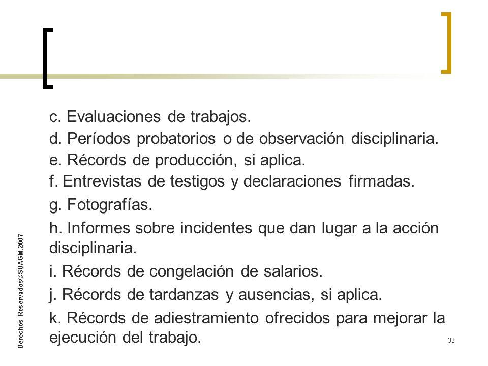 c. Evaluaciones de trabajos.