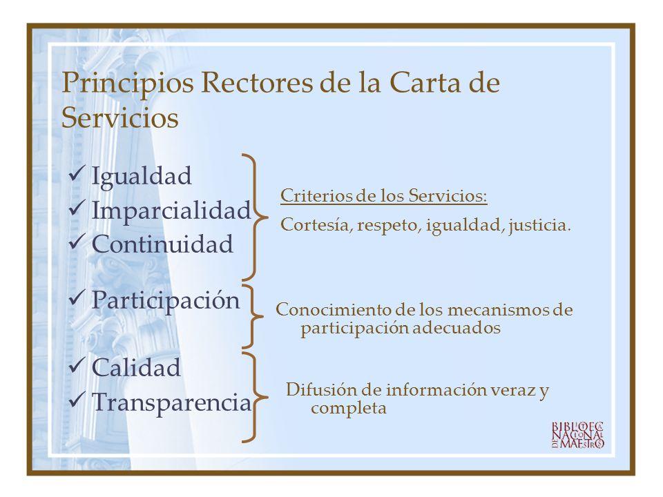 Principios Rectores de la Carta de Servicios