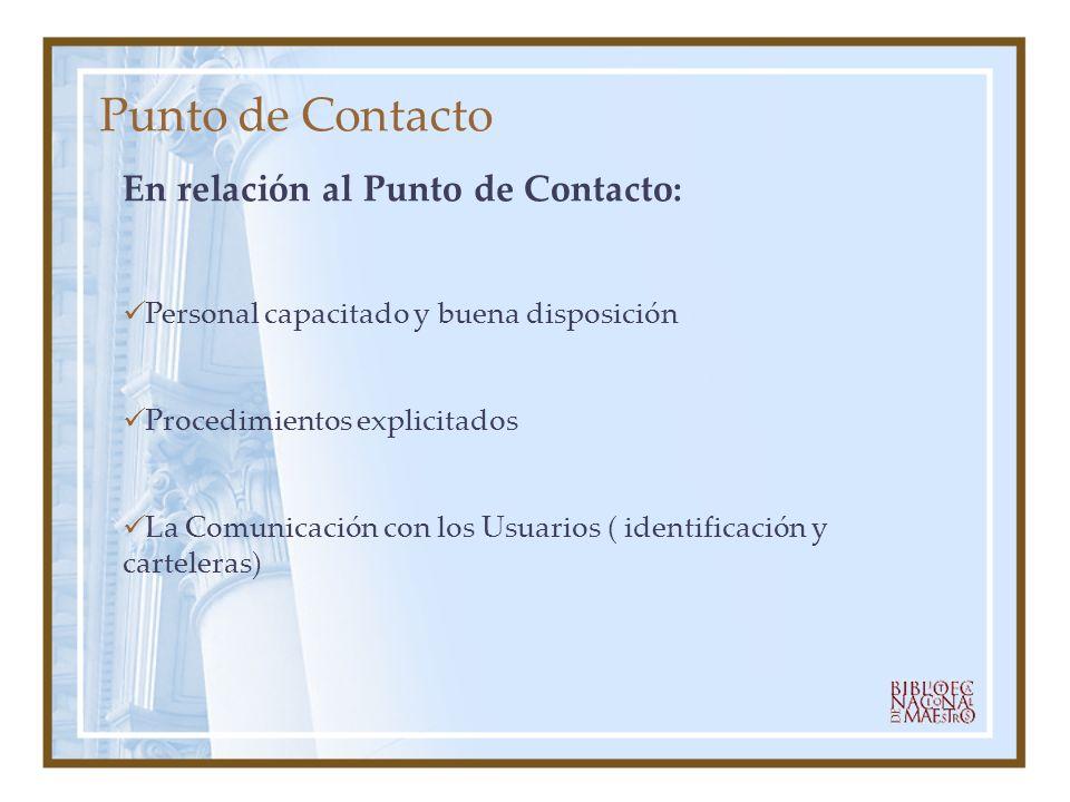 Punto de Contacto En relación al Punto de Contacto: