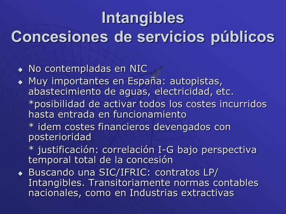 Intangibles Concesiones de servicios públicos