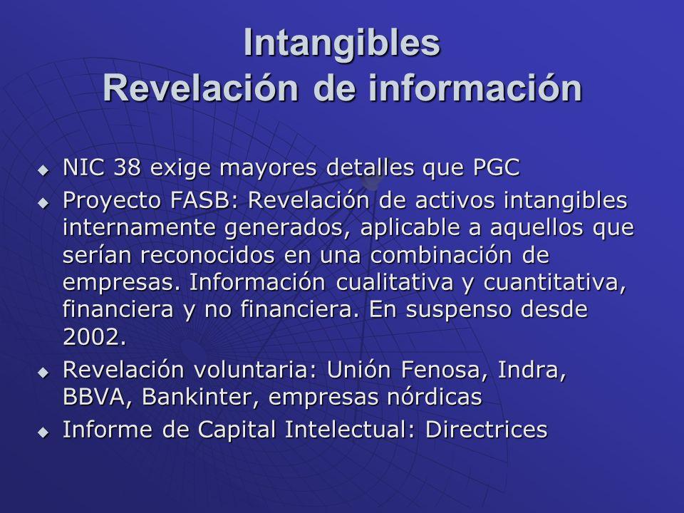Intangibles Revelación de información