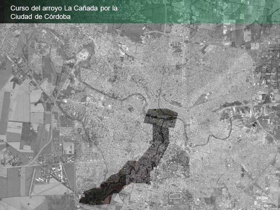 Curso del arroyo La Cañada por la Ciudad de Córdoba