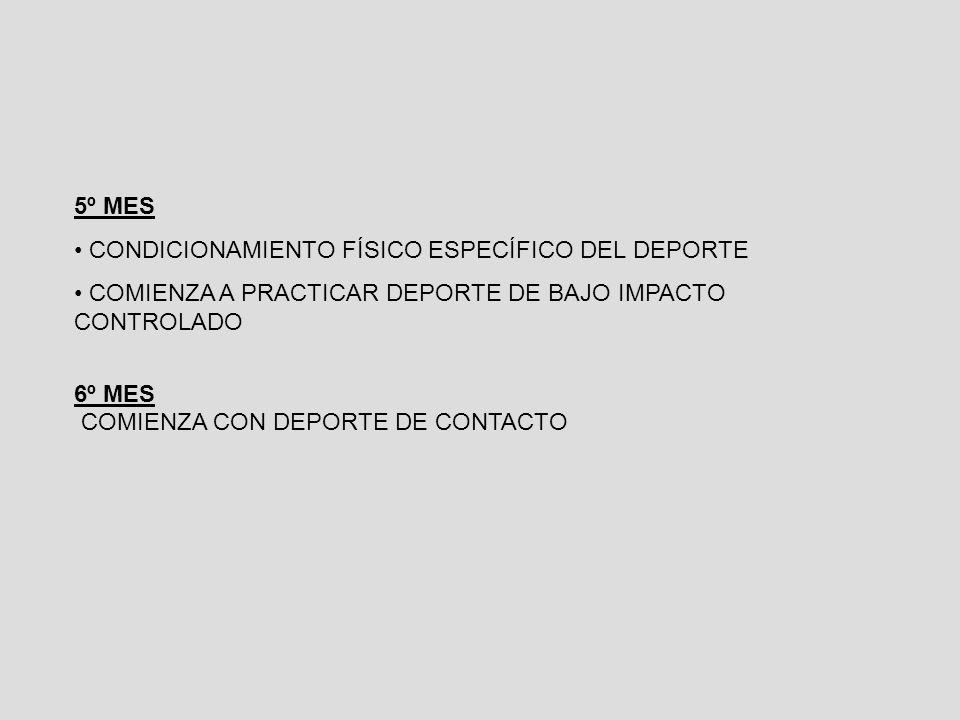 5º MES CONDICIONAMIENTO FÍSICO ESPECÍFICO DEL DEPORTE. COMIENZA A PRACTICAR DEPORTE DE BAJO IMPACTO CONTROLADO.