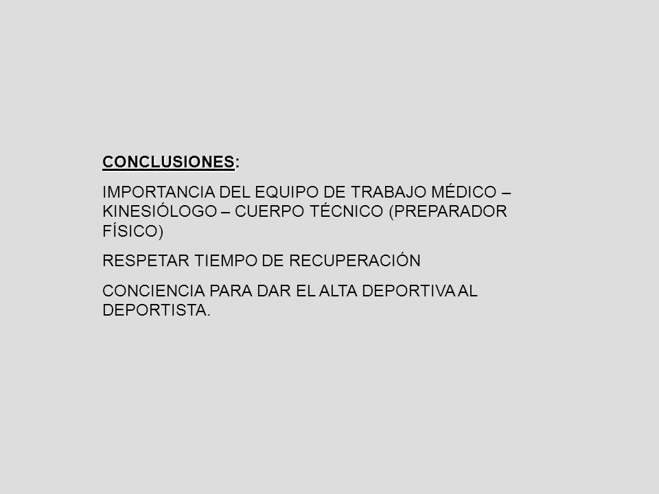 CONCLUSIONES: IMPORTANCIA DEL EQUIPO DE TRABAJO MÉDICO – KINESIÓLOGO – CUERPO TÉCNICO (PREPARADOR FÍSICO)