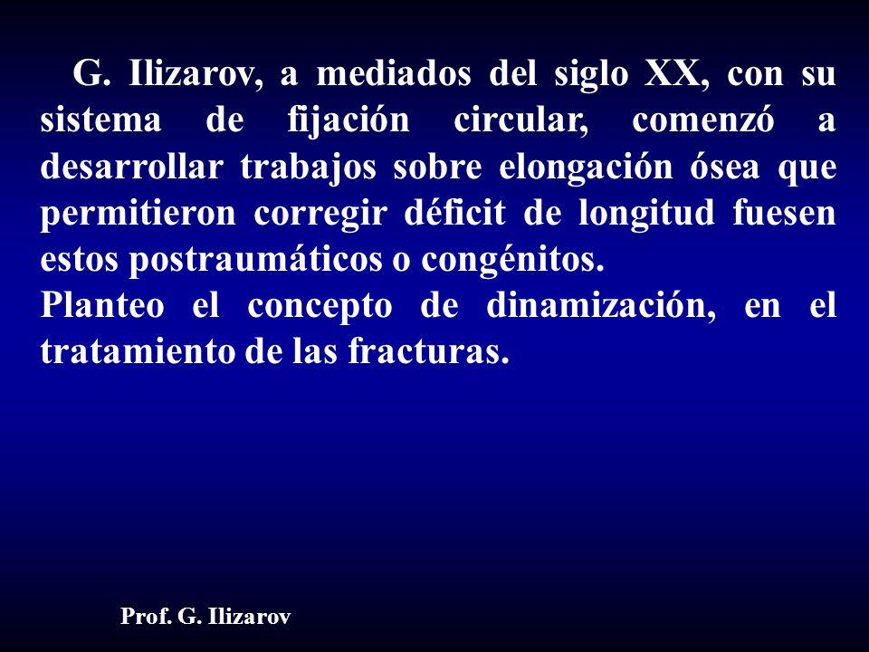 G. Ilizarov, a mediados del siglo XX, con su sistema de fijación circular, comenzó a desarrollar trabajos sobre elongación ósea que permitieron corregir déficit de longitud fuesen estos postraumáticos o congénitos.