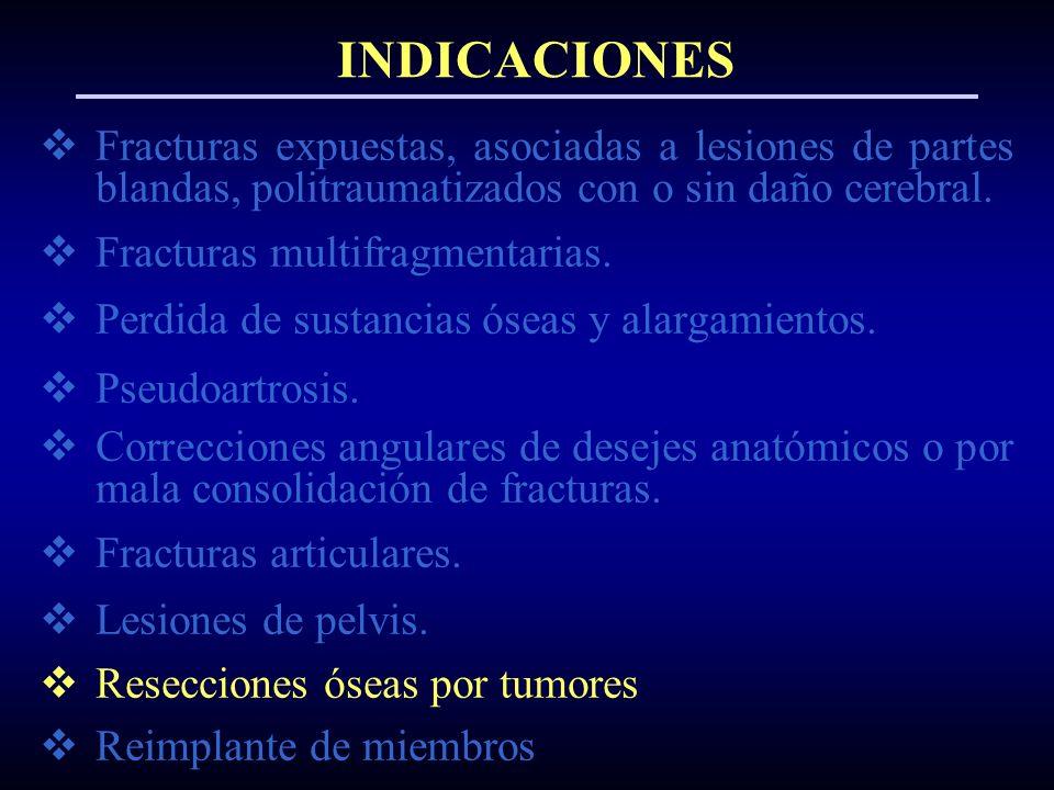 INDICACIONES Fracturas expuestas, asociadas a lesiones de partes blandas, politraumatizados con o sin daño cerebral.