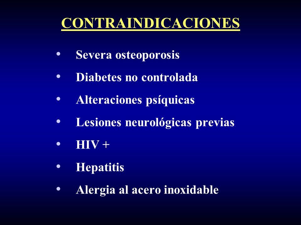 CONTRAINDICACIONES Severa osteoporosis Diabetes no controlada