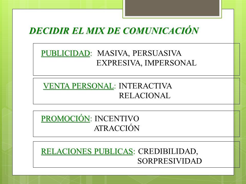 DECIDIR EL MIX DE COMUNICACIÓN