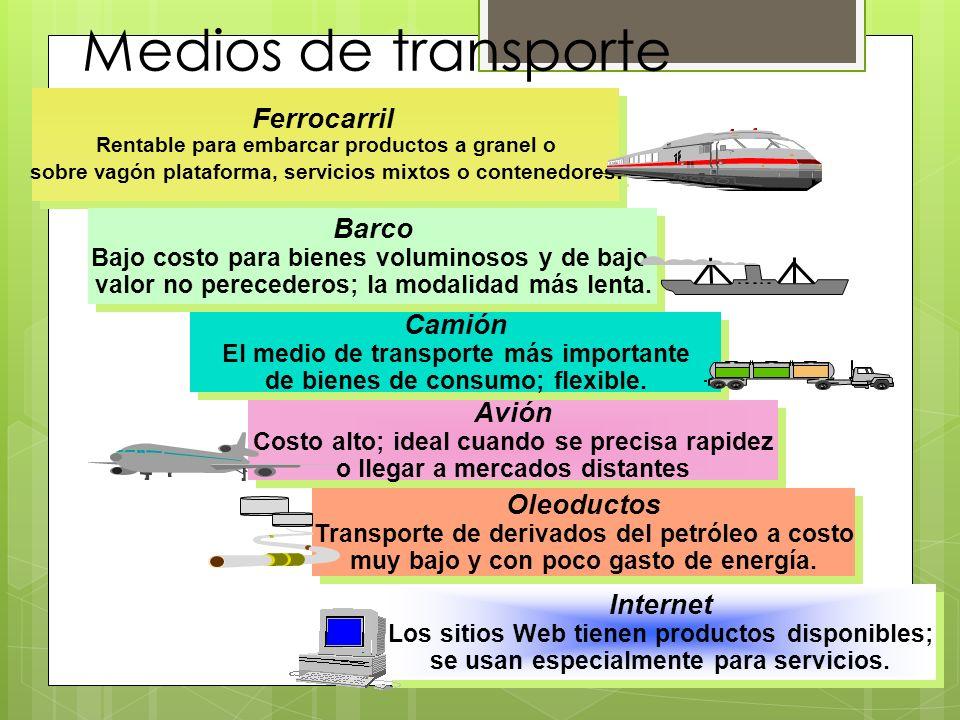 El medio de transporte más importante de bienes de consumo; flexible.