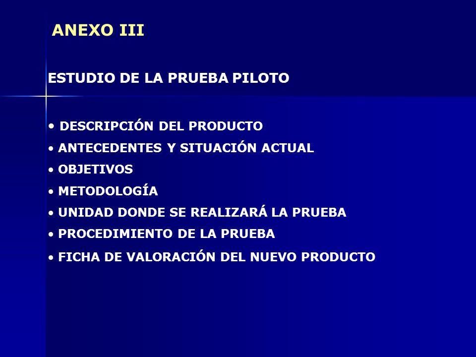 ANEXO III ESTUDIO DE LA PRUEBA PILOTO DESCRIPCIÓN DEL PRODUCTO