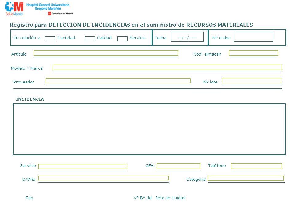 Registro para DETECCIÓN DE INCIDENCIAS en el suministro de RECURSOS MATERIALES