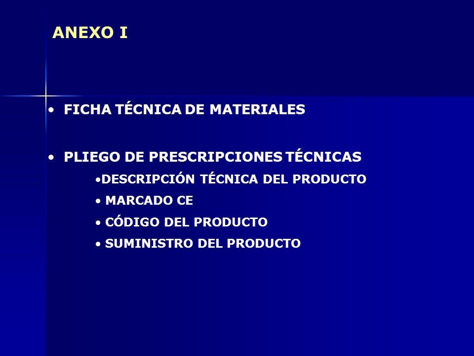 ANEXO I FICHA TÉCNICA DE MATERIALES PLIEGO DE PRESCRIPCIONES TÉCNICAS